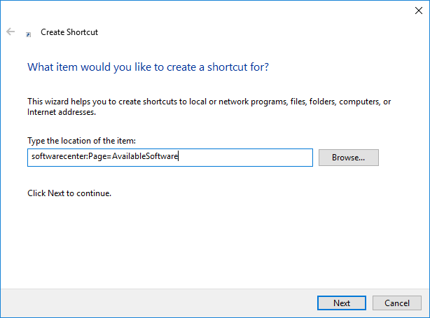Custom Start Menu Shortcuts for Software Center